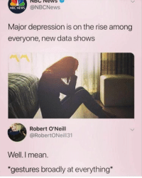 Funny, Memes, and News: NBCNewS  NBC NEWS  @NBCNews  Major depression is on the rise among  everyone, new data shows  Robert O'Neill  @RobertONeill31  Well.I mean.  *gestures broadly at everything Afternoon Funny Memes 37 Pics
