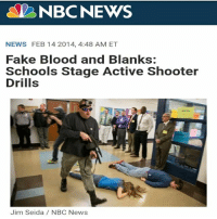 """NBCNEWS  NEWS FEB 14 2014, 4:48 AM ET  Fake Blood and Blanks:  Schools Stage Active Shooter  Drills  Jim Seida/ NBC News TROY, Mo.—In a cramped, carpeted amphitheater in the basement of Troy Buchanan High School, 69 students are waiting to die. """"You'll know when it pops off,"""" says Robert Bowen, the school's campus police officer. """"If you get engaged with one of the shooters, you'll know it."""" """"When you get shot, you need to close your fingers and keep 'em in,"""" adds Tammy Kozinski, the drama teacher. """"When the bad guy and the police come through, they'll step all over you, and who will be saying they're sorry?"""" """"Nobody!"""" the students cry in unison. This isn't a bizarre, premeditated mass murder or some twisted sacrifice led by a student cult. These are the 20 minutes preceding an active shooter drill, the 13th one Missouri's Lincoln County school district has staged in the past year. All but 69 students have gone home for the day on early dismissal. These volunteer victims, mostly culled from the school's drama class, are outfitted in fake-bloody bullet wounds, still wet and dripping down their foreheads, necks and chests. Bowen tells them what to expect: They'll see """"bad guys with AR-15s"""" shooting blanks during a simulated """"passing period""""—the moments when one class ends and the other begins. PVC pipes will be dropped on the floor to approximate IEDs. Crystal Lanham, a baby-faced freshman with long, gently-crimped brown hair, receives the dubious honor of being chosen as one of the gunmen's hostages. She's thrilled. """"I just really wanna get shot,"""" she jokes. """"Is that weird?"""" In the wake of mass shootings from Columbine to Sandy Hook to many in between, schools have devised new and creative ways to prepare for tragedy. Most have adapted some form of the standard lockdown drill, but some districts have gone further, with programs teaching kids self-defense, proposals to train teachers with firearms—and full-scale drills like the one that's about to happen in Troy, a to"""