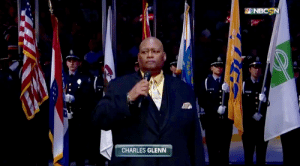 The National Anthem color guard from last night's Stanley Cup game included a Sponsor's Flag: NBCSN  CHARLES GLENN The National Anthem color guard from last night's Stanley Cup game included a Sponsor's Flag