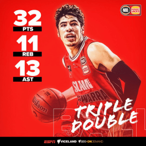 LAMELO BALL!  Youngest in @NBL history with a triple-double  32 PTS (11-20 FG) 13 AST (2 TO)  11 REB 4 3PT 1 STL W https://t.co/1jf71QWBP4: NBL JACKS  HUNGRY  32  PTS  11  REB  13  HUNGRY  JACK'S  EVE  SLAUE  WARRA  TRIPLE  OUBLE  AST  FIBA  Wilson  BANK  VICELAND SBSONDEMAND LAMELO BALL!  Youngest in @NBL history with a triple-double  32 PTS (11-20 FG) 13 AST (2 TO)  11 REB 4 3PT 1 STL W https://t.co/1jf71QWBP4