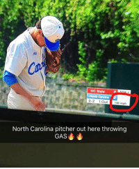 Wtf: NC State  0-2 1 Out  148 mph  North Carolina pitcher out here throwing  GAS Wtf