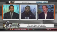People destroying Skip Bayless' existence in 30 seconds: Richard Sherman edition: NCAAM  FIRST  LIVE on ESPN  EMBRACE DEBATE  TAKE  RICHARD  How good do you think you are?  JOINS THE  8 Int (2nd in NFL), 3 FF last season  DEBATE DESK  90REGON vs COLORAD  9 ET People destroying Skip Bayless' existence in 30 seconds: Richard Sherman edition