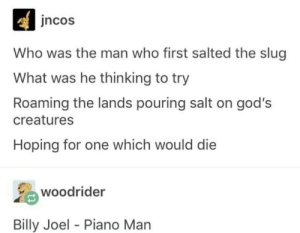 *harmonica solo*: ncos  Who was the man who first salted the slug  What was he thinking to try  Roaming the lands pouring salt on god's  creatures  Hoping for one which would die  woodrider  Billy Joel - Piano Man *harmonica solo*
