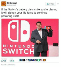 The Interview, Drug Test, and Relatable: ND Nintendeal  Follow  anintendeal  If the Switch's battery dies while you're playing  it will siphon your life force to continue  powering itself.  N IN T E N D C  SWITCH  RET  2,798 6.076  8:12 AM-23 Feb 2017 I just got done with a Safeway interview and I did great on the interview part but there was a drug test and I just left before the results came in. I'm just gonna show up on Thursday and pretend I don't smoke weed 'erry day -Beenis