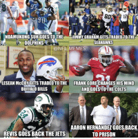 Aaron Hernandez, Buffalo Bills, and Buffalo: NDAMUKONGSUH GOES TOTHE  JIMMY GRAHAMGETS TRADED TO THE  SEAHAWKS  DOLPHINS  @NFL MEMES  LESEAN McCOUGETS TRADED TOTHE FRANK GORECHANGESHISMIND  AND GoESTOTHE Coms  BUFFALO BILLS  AARON HERNANDEZ GOES BACK.  REVIS GOES BACK THE JETS  TO PRISON A recap of Free Agency