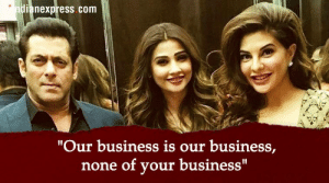 """Business, Race, and Salman Khan: ndianexpress com  """"Our business is our business,  none of your business"""" Race 3: This is what Salman Khan and Jacqueline Fernandez have to ..."""