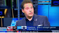 Dallas Cowboys, Football, and Nfl: ne  17 28  -FRIAL  Cowboys: Won 3 straight games  5-31.. Started 2-3  GAMEDAY  6-3  FINAL  EADERS PASSING 8  Tyrod Taylor 285 YDS, 2 TD  NETWD Deion went in on Romo.. 😂💀  https://t.co/7eKp5SCXHU