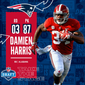 With the #87 overall pick in the 2019 @NFLDraft, the @Patriots select RB Damien Harris! #NFLDraft https://t.co/eiN3ySfh2p: NE  ENGL  DR.  BAMA  RD PK  03 87  DAMIEN  HARRIS  EN  PAT  DI  RAFT  2019  RB | ALABAMA  DT  RAF  OUR F  IS N  NFL  DRAFT' THE  OTS  IpTs  2019  1g6  RIL 25-27  25-27 With the #87 overall pick in the 2019 @NFLDraft, the @Patriots select RB Damien Harris! #NFLDraft https://t.co/eiN3ySfh2p