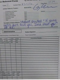 Lmfao: ne Referral Form  Time Sent:  Incident Date:  Grade  Referred by  Actions Taken by Teacher:  Counseling with Student  Method:  Date  Parents contacted  Date:  Parent Conference  Date  Referral to Counselor  Date  Loss of Privileges  Date  Detentions  Date  Other  Description of Student Behavior:  shout  metro deny trust ys, Ima Administrative  Student Signature:  Parent Contacted Date:  EIMs Disciplinary Action Reason Code:  Administrator Remarks  Action  Action  Action Days Start End  Assigned Assigned Date  Date  Date Actor Action  n Action Days Start End  Assigned Assigned Date Date Lmfao