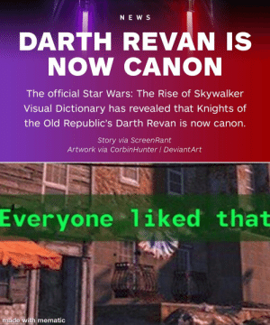 Ne W S Darth Revan Is Now Canon The Official Star Wars The Rise Of Skywalker Visual Dictionary Has Revealed That Knights Of The Old Republic S Darth Revan Is Now Canon Story