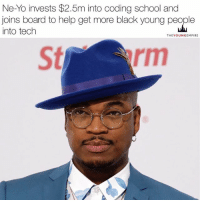 "Future, Love, and Memes: Ne-Yo invests $2.5m into coding school and  joins board to help get more black young people  into tech  THEY OUNGEMPIRE Ne-Yo has invested $2.5 million into a coding school teaching the next generation of engineers. . The money will go to the Holberton School for full-stack software engineers and will see Ne-Yo also join the school's board of trustees in order to help attract people from underrepresented groups to learn how to code. . ""Everybody knows that tech and all these things are the wave of the future,"" Ne-Yo told TechCrunch. ""I just love the fact of what they're doing with the school — that they're making it easier for underrepresented people in the world of tech. They're giving them a platform and access to this knowledge that they probably wouldn't get otherwise. I think... . Read the full story on our site (link in bio). . @neyo 👑"