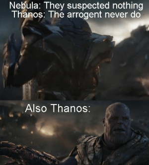Quick meme I made rewatching Endgame: Nebula: They suspected nothing  Thanos: The arrogent never do  Also Thanos: Quick meme I made rewatching Endgame