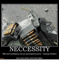 Confidence, Guns, and Memes: NECCESSITY  Skill and confidence are an unconquered army  George Herbert  Guns and ammo don't hurt either.  e.com neccessityisthemotherofinvention neccessities guns ammo aim shoot kill reload repeat