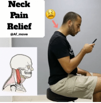 Af, Head, and Memes: Neck  Pain  Relief  @Af move NECK PAIN RELIEF THROUGH MOVEMENT via. FLEXION AND ROTATION - 📍With most of our day to day tasks ran by technology 👉🏽📱we tend to suffer from chronic neck pain on a regular basis. - 📋Most of the pain felt has to do with the postural imbalance and compensations that follows the constant forward head and kyphosis (hunched upper back ) position. - One way to combat this epidemic is through movement 🏊🏼♀️ - Forward head posture creates tension and overuse in the posterior neck muscles that keep your head from falling off👉🏽 🙇🏽. Along with chest muscles that are overworked with the slouched position. - Engaging the deep flexors of your neck and mid upper back helps to reduce the tension from the posterior neck muscles. - Two variations are shown (seated and lying down) Use the video 👆🏽above at your office, in the car, or any where else. - Make sure to: 🔸Retract shoulder blades 🔸Maintain chin tuck 🔸Press head onto mat (or car seat ) 🔸Have pain-free movement - Try 2-3 reps per side through out the day. - Tag a friend and let's get moving 🏊🏼 ____________________________________________ Thanks for your support and attention! Make sure to turn on your notifications at the top 👆🏽to make sure you don't miss a post. MyoRenew MoveRecoverRepeat AmplifyYourPotential Miami NeckPain