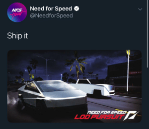 Memes, Dank Memes, and Need for Speed: Need for Speed  @NeedforSpeed  NFS  Hear  Ship it  STANS Fer  NEED FOR SPEED  LODPURSUIT NFS getting into memes lately 🤔