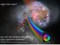 """Reddit, Run, and Time: need more color?  Color  you can now acquire any galaxy  color spectrum wirelessly:  """"desaturation may occur.  it is forbiden to possess more thancolors at any given time <p>[<a href=""""https://www.reddit.com/r/surrealmemes/comments/8ndbve/you_wont_run_out_of_now/"""">Src</a>]</p>"""