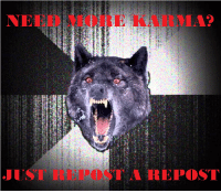 Insanity Wolf: NEED MORE KARMA?  JUST REPOST A TREPOST