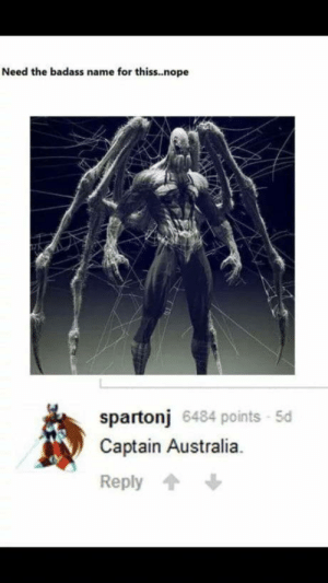 Australia, Nope, and Badass: Need the badass name for thiss..nope  spartonj 6484 points 5d  Captain Australia.  Reply The ultimate Avenger