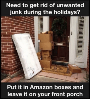 Rid: Need to get rid of unwanted  junk during the holidays?  B05  3320  Put it in Amazon boxes and  leave it on your front porch