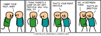 Cyanide And Happieness: NEED YOUR  HELP, MAN!  I THINK THERE'S A  NO, IN BETWEEN  THAT'S YOUR RIGHT  LUMP ON MY LEFT  TESTICLE  THEM  THAT'S AN  TESTICLE. WILL YOU  ERECTION  FEEL IT?  cyanide and Happiness O Explosm.net