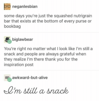 Alive, Awkward, and Thank You: neganlesbian  some days you're just the squashed nutrigrain  bar that exists at the bottom of every purse or  bookbag  biglawbear  You're right no matter what I look like I'm still a  snack and people are always grateful when  they realize I'm there thank you for the  inspiration post  awkward-but-alive  0'm still a snack