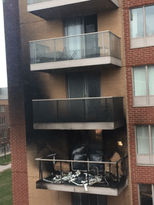 Neighbours left an oil wick candle unattended on their balcony on a windy night. The bonus 4am glass explosion must've made the people living above and below shit their pants.: Neighbours left an oil wick candle unattended on their balcony on a windy night. The bonus 4am glass explosion must've made the people living above and below shit their pants.