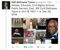 Memes, Neil deGrasse Tyson, and New Jersey: Neil deGrasse Tyson  aneiltyson 22m v  Athlete, Educator, Civil Rights Activist,  Public Servant, Dad. RIP Cyril DeGrasse  Tyson b. Oct 19, 1927  d. Dec 29  2016.  EARS  EFORE  THE  IOT!  A Newark, New Jersey and the  United Community Corporation  1964-1966  ST FRANCIS COLLEGE  1,790  t 2,200 8,446 M Rest in peace, Cyril.
