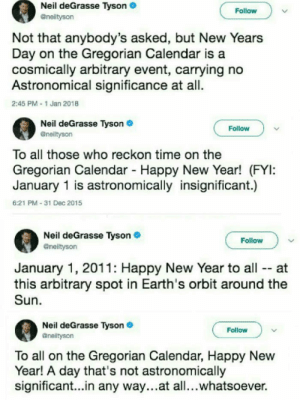 Neil deGrasse Tyson, New Year's, and Calendar: Neil deGrasse Tyson  Follow  Not that anybody's asked, but New Years  Day on the Gregorian Calendar is a  cosmically arbitrary event, carrying no  Astronomical significance at all.  2:45 PM 1 Jan 2018  Neil deGrasse Tyson  @nelityson  Follow  To all those who reckon time on the  Gregorian Calendar Happy New Year! (FYI:  January 1 is astronomically insignificant.)  6:21 PM-31 Dec 2015  Neil deGrasse Tyson  @neiltyson  Follow  January 1, 2011: Happy New Year to all -- at  this arbitrary spot in Earth's orbit around the  Sun  Neil deGrasse Tyson  Gneiltyson  Follow  To all on the Gregorian Calendar, Happy New  Year! A day that's not astronomically  significant...in any way...at all...whatsoever. We get it neil, we get it
