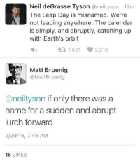 Neil deGrasse Tyson, Leap Day, and Calendar: Neil deGrasse Tyson @neiltyson 12m  The Leap Day is misnamed. We're  not leaping anywhere. The calendar  is simply, and abruptly, catching up  with Earth's orbit  1,621 2,210  Matt Bruenig  @MattBruenig  @neiltyson if only there was a  name for a sudden and abrupt  lurch forward  2/29/16, 7:46 AM  15 LIKES The truth about leap year