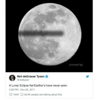 "For this ThrowbackThursday post, we look back at @neildegrassetyson's epic burn directed at flat Earth conspiracy theorists, which he tweeted in November of last year. 😂😂 . Via @inverse, ""Here, he lets the (obviously photoshopped) photo speak for itself. The major claim in flat Earth theory, of course, is that it is flat. During a normal lunar eclipse, we look to the sky to see the moon go completely dark — a consequence of the Earth's shadow blocking light from the sun from reaching the moon. This is possible because the Earth is both spherical and huge. If the Earth was flat, the shadow it would cast on the moon's surface when it got between the sun and the moon would, in turn, look flat, as it does in Tyson's photo. . This, obviously, is never going to happen."" 🌍 🌎 🌏 🌐 . You can read original @inverse article in its entirety here: https:-bbc.in-2EPCByY . PLAY NICE IN THE COMMENTS 😁 . science throwbackthursday neildegrassetyson flatearth conspiracytheories: Neil deGrasse Tyson  @neiltyson  A Lunar Eclipse flat-Earther's have never seen.  2:08 PM Nov 26, 2017  184K 58.9K people are talking about this For this ThrowbackThursday post, we look back at @neildegrassetyson's epic burn directed at flat Earth conspiracy theorists, which he tweeted in November of last year. 😂😂 . Via @inverse, ""Here, he lets the (obviously photoshopped) photo speak for itself. The major claim in flat Earth theory, of course, is that it is flat. During a normal lunar eclipse, we look to the sky to see the moon go completely dark — a consequence of the Earth's shadow blocking light from the sun from reaching the moon. This is possible because the Earth is both spherical and huge. If the Earth was flat, the shadow it would cast on the moon's surface when it got between the sun and the moon would, in turn, look flat, as it does in Tyson's photo. . This, obviously, is never going to happen."" 🌍 🌎 🌏 🌐 . You can read original @inverse article in its entirety here: https:-bbc.in-2EPCByY . PLAY NICE IN THE COMMENTS 😁 . science throwbackthursday neildegrassetyson flatearth conspiracytheories"
