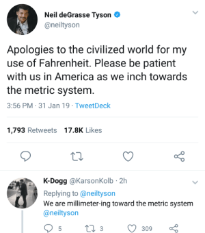 America, Dank, and Memes: Neil deGrasse Tyson  @neiltyson  Apologies to the civilized world for my  use of Fahrenheit. Please be patient  with us in America as we inch towards  the metric system  3:56 PM 31 Jan 19 TweetDeck  1,793 Retweets 17.8K Likes  K-Dogg @KarsonKolb - 2h  Replying to @neiltyson  We are millimeter-ing toward the metric system  @neiltyson  309 Make America Great Again. by Lowcrbnaman MORE MEMES