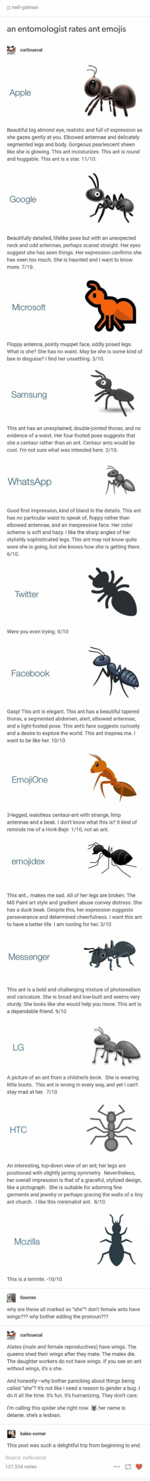 : neil-gaiman  an entomologist rates ant emojis  curlicuecal  Apple  Beautiful big almond eye, realistic and full of expression as  she gazes gently at you. Elbowed antennae and delicately  segmented legs and body. Gorgeous pearlescent sheen  like she is glowing. This ant moisturizes. This ant is round  and huggable. This ant is a star. 11/10.  Google  unexpected  Beautifully detailed, lifelike pose but with an  neck and odd antennae, perhaps scared straight. Her eyes  suggest she has seen things. Her expression confirms she  has seen too much. She is haunted and I want to know  more. 7/10.  Microsoft  Floppy antenna, pointy muppet face, oddly posed legs.  What is she? She has no waist. May be she is some kind of  bee in disguise? I find her unsettling. 3/10.  Samsung  This ant has  unexplained, double-jointed thorax, and no  evidence of a waist. Her four-footed pose suggests that  an  she a centaur rather than an ant. Centaur ants would be  cool. I'm not sure what was intended here. 2/10  WhatsApp  Good first impression, kind of bland in the details. This ant  has no particular waist to speak of, floppy rather than  elbowed antennae, and an inexpressive face. Her color  scheme is soft and hazy. I like the sharp angles of her  stylishly sophisticated legs. This ant may not know quite  were she is going, but she knows how she is getting there.  6/10  Twitter  Were you even trying. 0/10  Facebook  Gasp! This ant is elegant. This ant has a beautiful tapered  thorax, a segmented abdomen, alert, elbowed antennae,  and a light-footed pose. This ant's face suggests curiosity  and a desire to explore the world. This ant inspires me. I  want to be like her. 10/10  EmojiOne  3-legged, waistless centaur-ant with strange, limp  antennae and a beak. I don't know what this is? It kind of  reminds me of a Hork-Bajir. 1/10, not an ant.  emojidex  This ant... makes me sad. All of her legs are broken. The  MS Paint art style and gradient abuse convey distress. She  has a duck beak. D