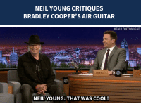 "<p><a href=""http://www.nbc.com/the-tonight-show/segments/111111"" target=""_blank"">Neil Young has some constructive criticism for Bradley Cooper&rsquo;s air guitar performance</a> of &ldquo;Down by the River.&rdquo;</p>: NEIL YOUNG CRITIQUES  BRADLEY COOPER'S AIR GUITAR   #FALLONTONIGHT  pono  NEILYOUNG: THAT WAS COOL! <p><a href=""http://www.nbc.com/the-tonight-show/segments/111111"" target=""_blank"">Neil Young has some constructive criticism for Bradley Cooper&rsquo;s air guitar performance</a> of &ldquo;Down by the River.&rdquo;</p>"