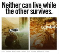 HEHE Auror Harry: Neither can live While  the other survives.  SCHOOL  LOL #Funny harry Potter Haha #GIF Quote school Vs, Tumblr HEHE Auror Harry