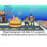 I love this movie -F: nemrelife  Illegal immigrants with fake U.S. passports  calmly get by border patrol (4/20/17 colorized) I love this movie -F