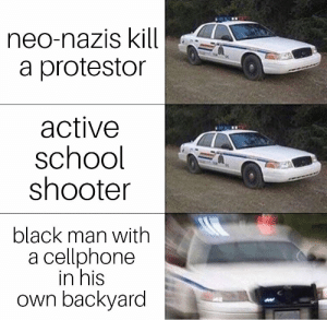 School, Black, and Black Man: neo-nazis kill  a protestor  active  school  shooter  black man with  a cellphone  in his  own backyard AC//AB