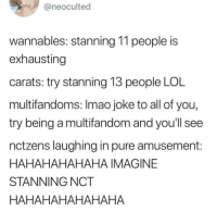 Lol, Suffering, and Imagine: @neoculted  wannables: stanning 11 people is  exhausting  carats: try stanning 13 people LOL  multifandoms: Imao joke to all of you,  try being a multifandom and you'll see  nctzens laughing in pure amusement:  HAHAHAHAHAHA IMAGINE  STANNING NCT  HAHAHAHAHAHAHA we are all suffering