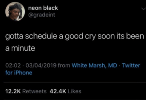 Iphone, Soon..., and Twitter: neon black  @gradeint  gotta schedule a good cry soon its been  a minute  02:02 03/04/2019 from White Marsh, MD Twitter  for iPhone  12.2K Retweets 42.4K Likes