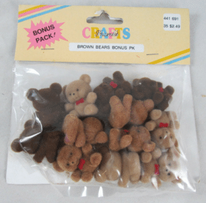 neon-flamingo:Vintage Pack Of Mini Flocked Brown Teddy Bears: neon-flamingo:Vintage Pack Of Mini Flocked Brown Teddy Bears