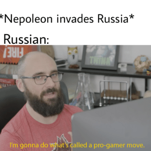 Bitch, History, and Russia: *Nepoleon invades Russia*  Russian:  THINK  I'm gonna do what's called a pro-gamer move. Ah ha gotta bitch