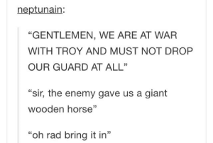 """Giant, Horse, and Rad: neptunain:  """"GENTLEMEN, WE ARE AT WAR  WITH TROY AND MUST NOT DROP  OUR GUARD AT ALL""""  """"sir, the enemy gave us a giant  wooden horse""""  """"oh rad bring it in"""" Trojans"""