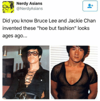 """Fashion, Hoe, and Jackie Chan: Nerdy Asians  (a NerdyAsians  Did you know Bruce Lee and Jackie Chan  invented these """"hoe but fashion"""" looks  ages ago... ;)"""