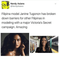 this is a little late but i wanted to post it anyways ❤: Nerdy Asians  @NerdyAsians  Filipina model Janine Tugonon has broken  down barriers for other Filipinas in  modeling with a major Victoria's Secret  campaign. Amazing  Exit Greer this is a little late but i wanted to post it anyways ❤
