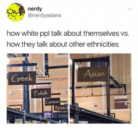 Asian, American, and White: nerdy  ver  @nerdyaslans  how white ppl talk about themselves vs.  how they talk about other ethnicities  Greek  Asian  Polish  German  Bntish Has anyone seen American Vandal, can we talk about it