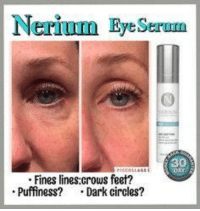 Nerium Eye  Fines lines:crows feet?  Puffiness?  Dark circles? It's Sample Saturday!  First 5 people to comment 'eye' will receive a free Eye Serum sample!!
