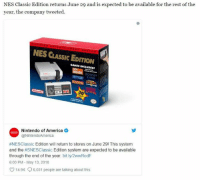 It's returning! 😍: NES Classic Edition returns June 29 and is expected to be available for the rest of the  year, the company tweeted  NES CLASSIC EDITION  GAMES INCLUDED!  3  Nintendo of America  @NintendoAmerica  #NESClassic Edition will return to stores on June 291 This system  and the #SNESClassic Edition system are expected to be available  through the end of the year. bit.ly/2wwRodF  6:00 PM- May 13, 2018  14.9K  6,031 peopie are talking about this It's returning! 😍