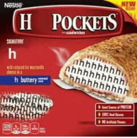 Nestle, Cheese, and New: Nestle  NEW  H POCKETS  andwiches  SIGNATURE  cheese is  buttery  hi