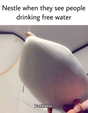 Drinking, Free, and Water: Nestle when they see people  drinking free water  Pathetic. Nestle is big gay