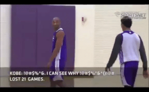 """You motherf***ers are soft like Charmin...Now I see why we've lost 20 f***ing games.""  5 years ago today, Kobe Bryant had this epic rant during a Lakers practice.    https://t.co/D6KzO9BEH0: NETCO  KOBE: !@#$%ng. I CAN.SEE WHY !@#5%""6""()!@#  LOST 21 GAMES. ""You motherf***ers are soft like Charmin...Now I see why we've lost 20 f***ing games.""  5 years ago today, Kobe Bryant had this epic rant during a Lakers practice.    https://t.co/D6KzO9BEH0"