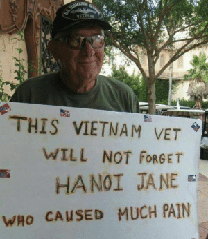 Memes, Vietnam, and Pain: NETERAN  THIS VIETNAM VET  WILL NOT FORGET  HANOI JANE  WHO CAUSED MUCH PAIN